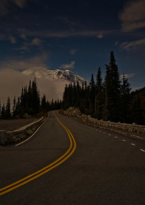 Moonlit road to Rainier