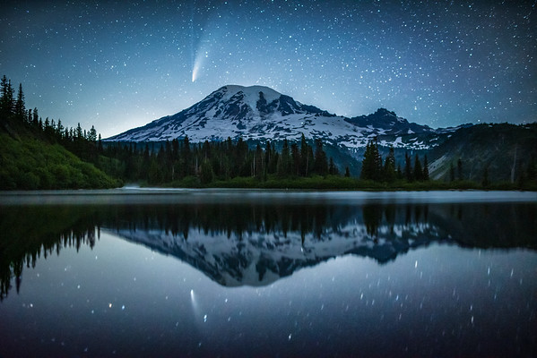 Mt Rainier NEOWISE Reflections