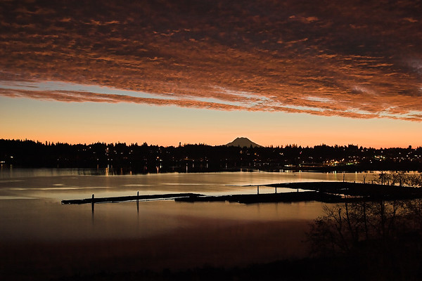 Sunrise - Mt. Rainier and Budd Inlet from West Olympia #2