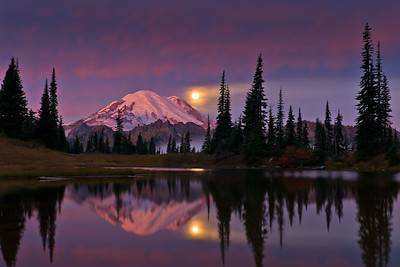 The Full Moon setting over Mount Rainier