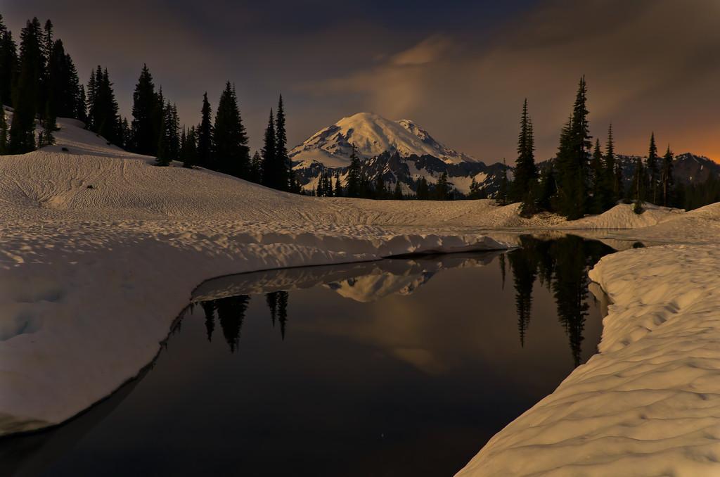 Tipsoo Lake under the moonlight, Mount Rainier on the horizon