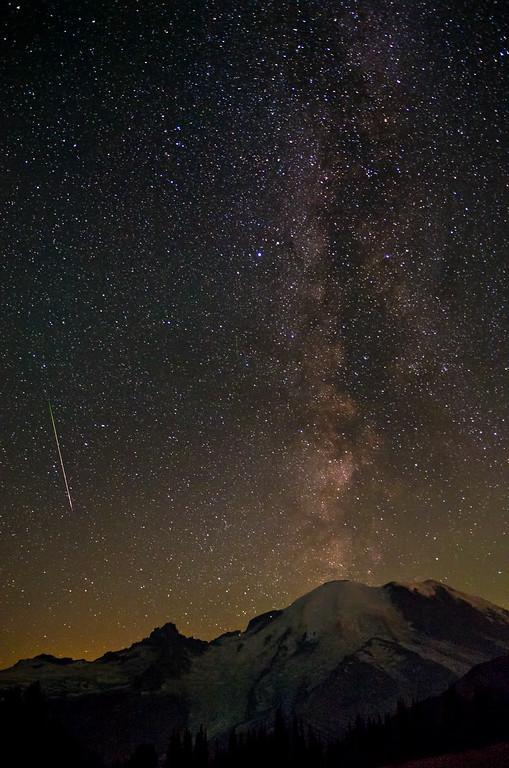 Meteor & Milky Way over Mount Rainier