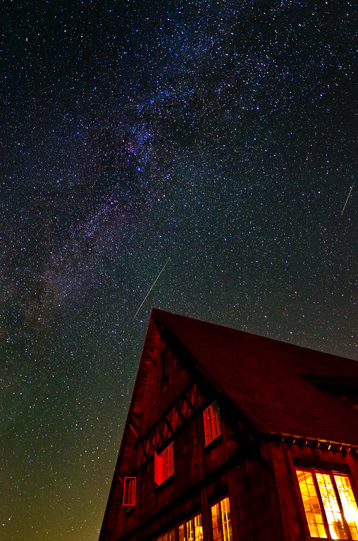 Meteor & Milky Way over Mount Rainier, Sunrise Region