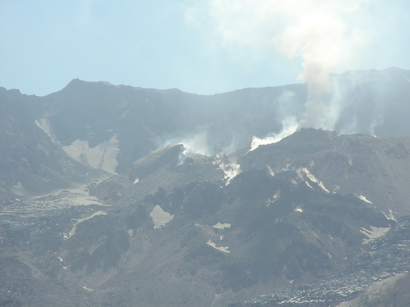 The lava dome in Mt St Helens crater was releasing steam on Saturday morning, Sept 1, 2007.