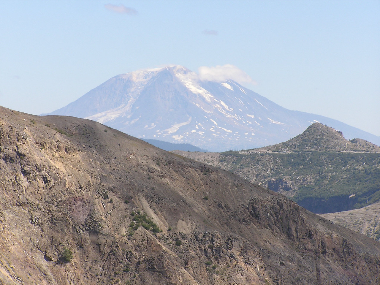 Mount Adams from the Boundary Trail east of the Johnston Observatory at Mt St Helens.  Looking east above Spirit Lake.