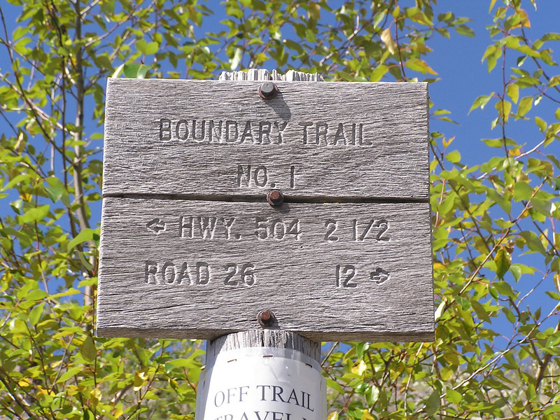 The sign at the intersection with the Truman Trail.  We continued eastward on the Boundary Trail No. 1 towards Road 26.  At this point, we had hiked 2 and 1/2 miles from Johnston Ridge Observatory, where we started our hike and where highway 504 ends.