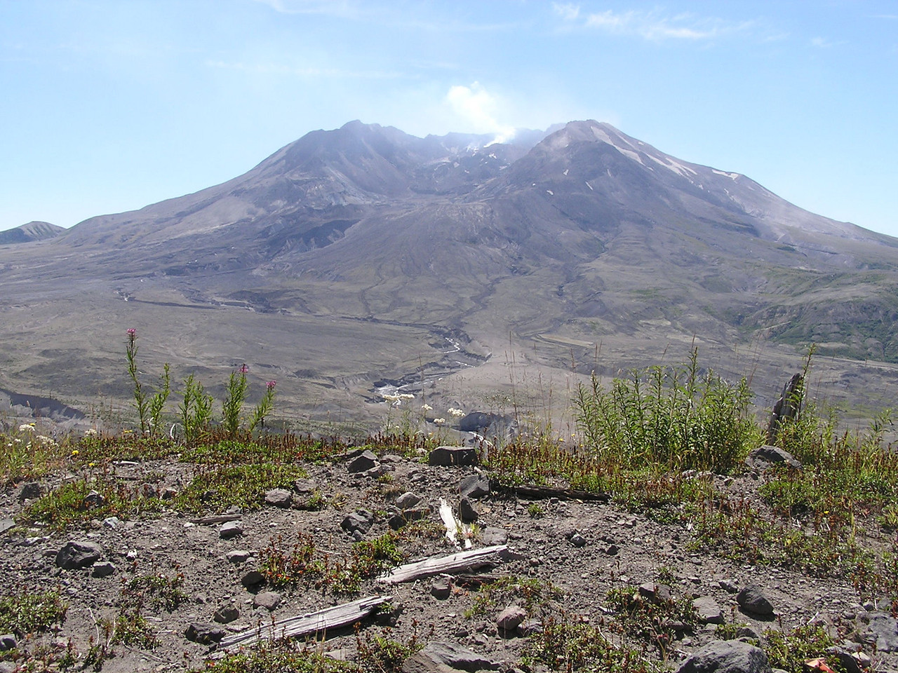 Mt St Helens on Sept 1, 2007, taken from the Johnston Ridge Observatory.  Looking south at the crater showing that the north flank of the mountain is gone after the eruption of May 18, 1980.