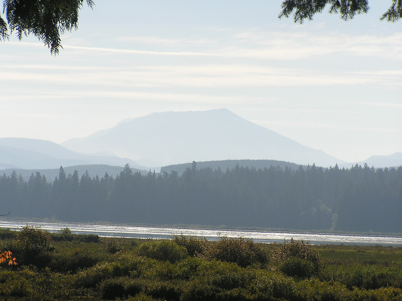 Mt St Helens appears as a silohette in the morning haze as seen from the Mt St Helens visitor center at Seaquest State Park.  Mt St Helens is about 40 miles east from here.