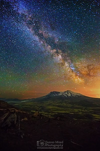 """Against the Grain,"" 35th Anniversary: The Milky Way over Mount St Helens, Mt St Helens National Volcanic Monument, Washington"