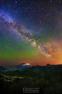 """As the Valley Sleeps,"" 35th Anniversary: The Milky Way over Mount St Helens and the North Fork Toutle River valley, Mt St Helens National Volcanic Monument, Washington"