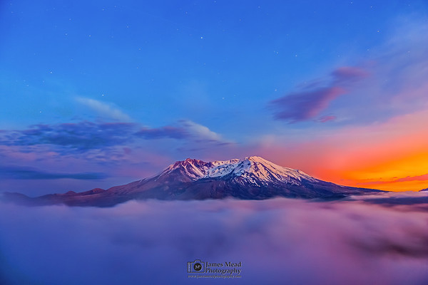 """""""Smoking Mountain,"""" Mount St Helens 35th Anniversary Nautical Twilight, Mt St Helens National Volcanic Monument"""