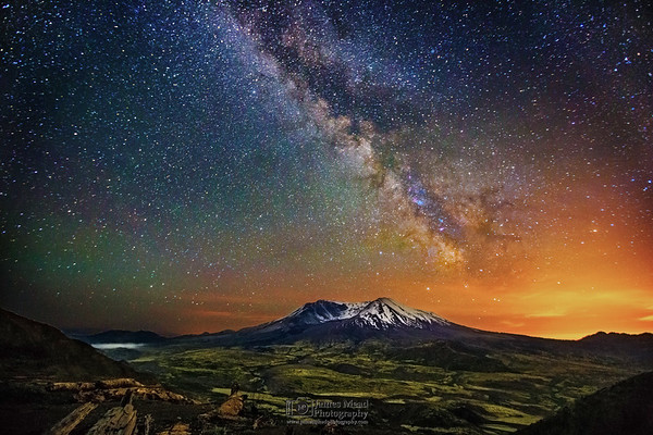 """""""A Sky Divided,"""" 35th Anniversary: The Milky Way over Mount St Helens, Mt St Helens National Volcanic Monument, Washington"""