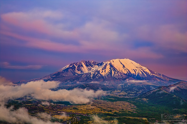 """""""Last Light over Loowit,"""" Mount St Helens 35th Anniversary Twilight, Mt St Helens National Volcanic Monument"""