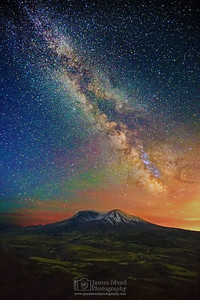 """The Palette's of Night,"" 35th Anniversary: The Milky Way over Mount St Helens, Mt St Helens National Volcanic Monument, Washington"