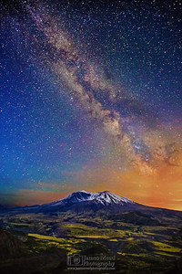 """Her Majesty's Valley,"" 35th Anniversary: The Milky Way over Mount St Helens, Mt St Helens National Volcanic Monument, Washington"