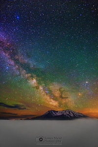 """Mountain Blast,"" 35th Anniversary: The Milky Way over Mt St Helens, Mt St Helens National Volcanic Monument"