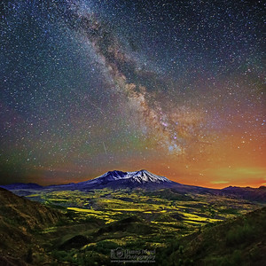 """Loowit's Grace,"" The 35th Anniversary Collection: The Milky Way Core and Meteors over Mount St. Helens, May 18th 2015: 35th Anniversary of the 1980 Eruption, Mt St Helens National Volcanic Monument"