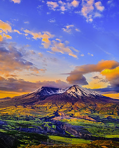 """Sun-kissed Lawetlat'la,"" 35th Anniversary Mount St Helens Sunrise, Mt St Helens National Volcanic Monument"