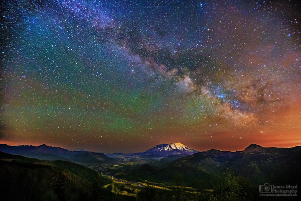 """""""Toutle River Nightlife,"""" 35th Anniversary: The Milky Way over Mt St Helens and the North Fork Toutle River valley, Mt St Helens National Volcanic Monument, Washington"""