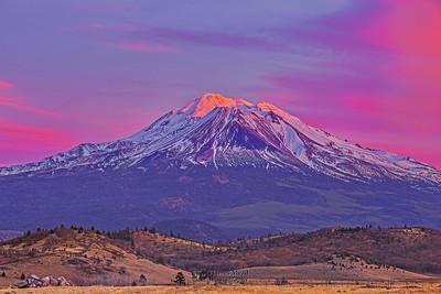 """Last Kiss,"" Mount Shasta Alpenglow at Sunset, California"