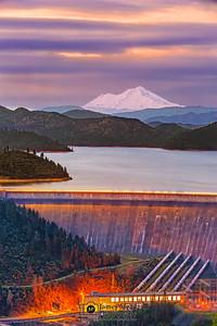 """Trine,"" the Three Shastas (Shasta Dam, Shasta Lake, and Mount Shasta) at Dusk, Shasta-Trinity National Forest, California"