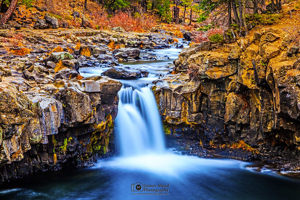 """""""Silence of Autumn,"""" Lower McCloud Falls, McCloud River, Shasta-Trinity National Forest, California"""