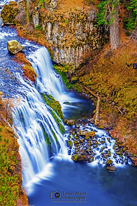 """Falling Beauty,"" Middle McCloud Falls from Above, McCloud River, Shasta-Trinity National Forest, California"