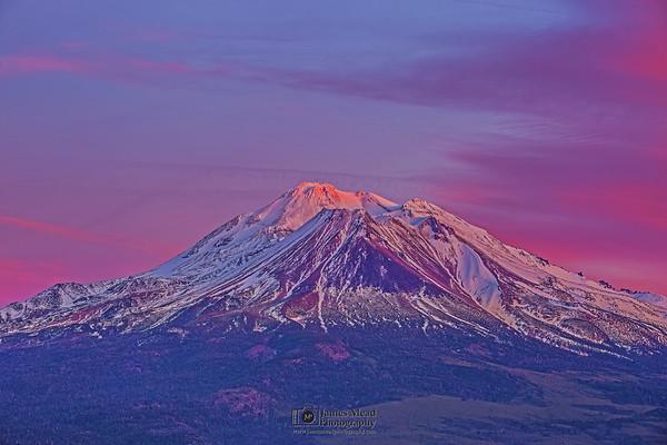 """Alpine Air,"" Mount Shasta Alpenglow at Sunset, California"