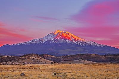 "'Glazed,""  Mount Shasta Alpenglow at Sunset, California"