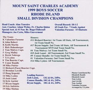Mount St Charles 1999 Soccer Team