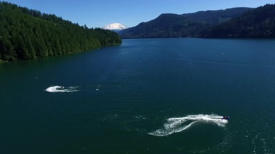 1-Saddle Dam-Jet skiers and Mount St  Helens