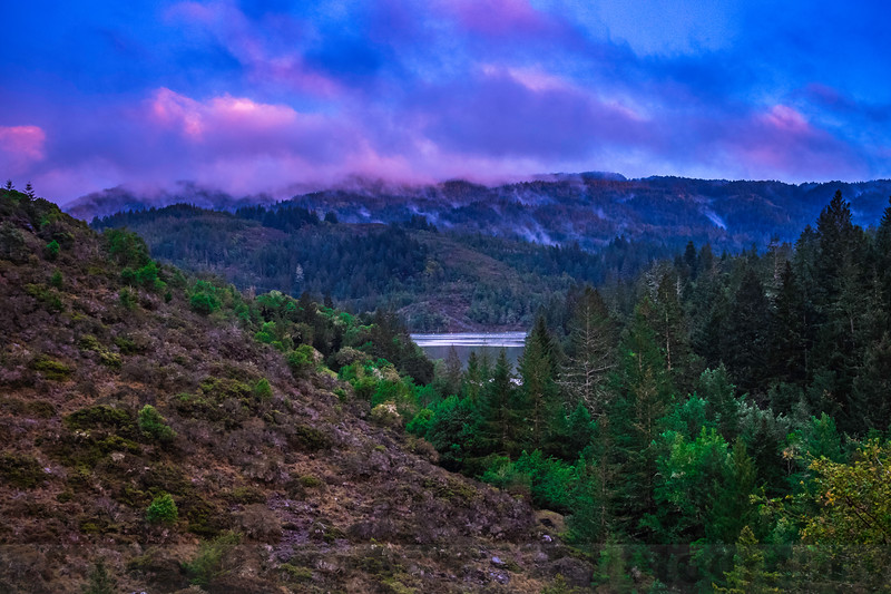 Evening after a storm: Mount Tam and Alpine Lake