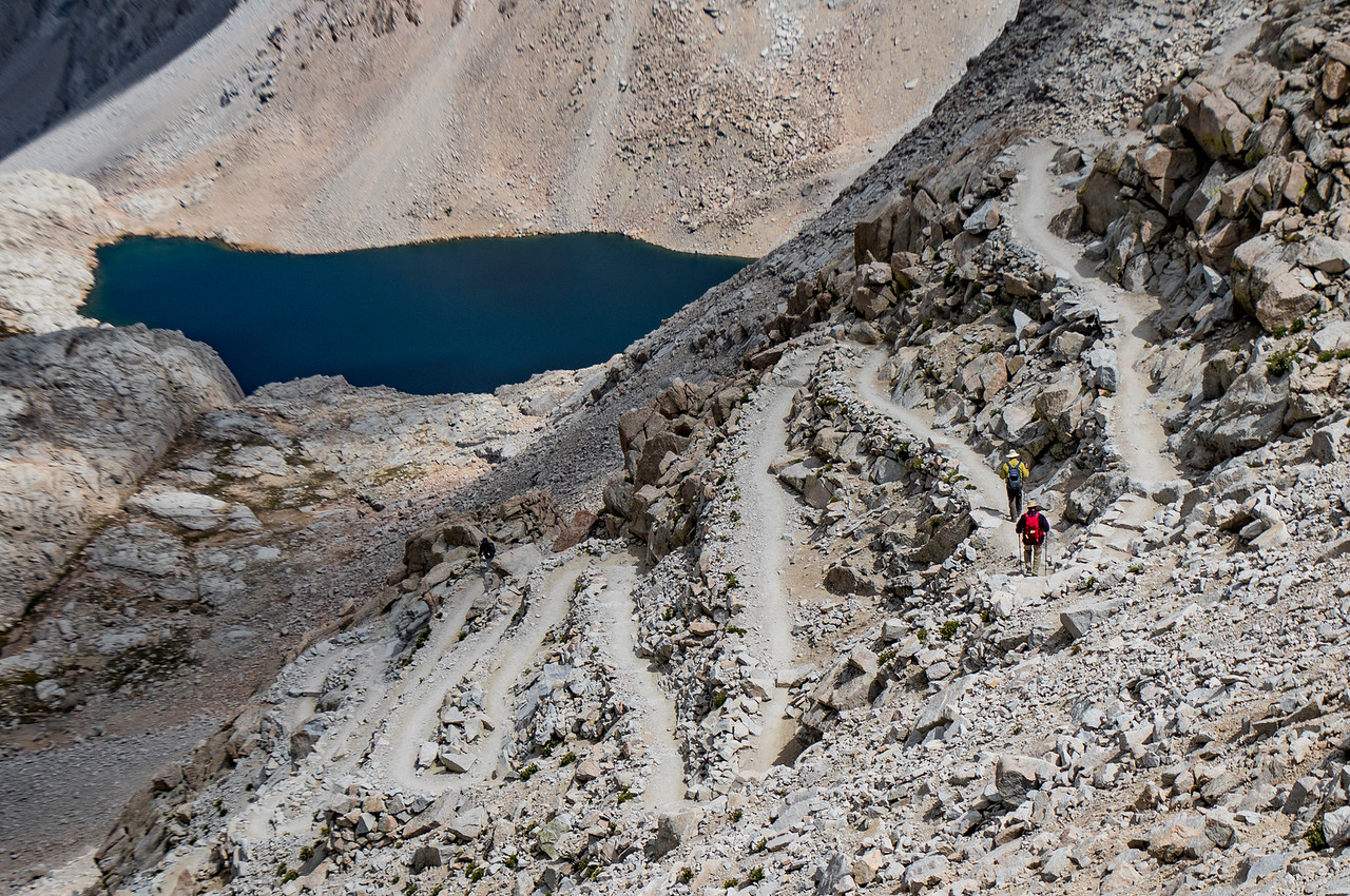 This is the infamous 99 switchbacks that lead to the summit of Mount Whitney in California. (© Erica Jacques 2016)