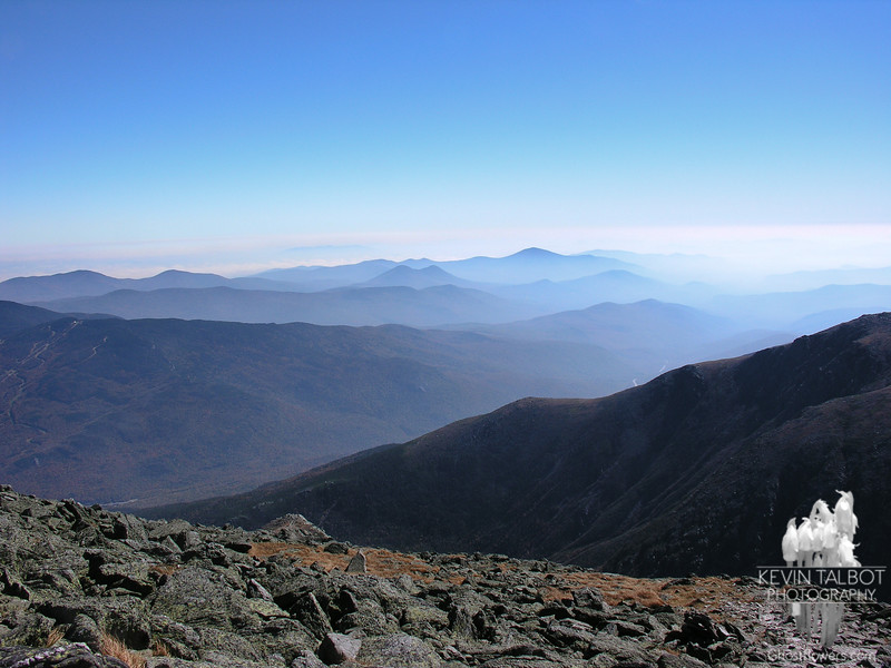 View east to the Doubleheads and Pleasant Mountain in Maine.