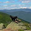 Emma takes in the view. Mount Tom, The Bonds and Franconia Ridge can be seen in the distance.