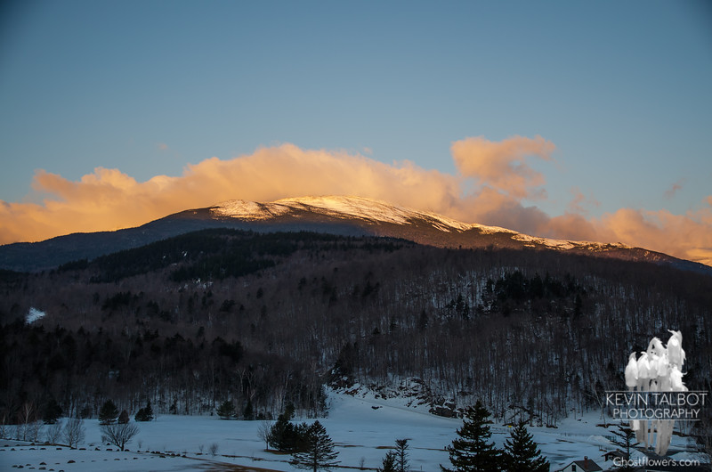 Arriving at Glen House the rising sun lights up the Northern Presidential Range.