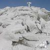 Frozen summit marker.