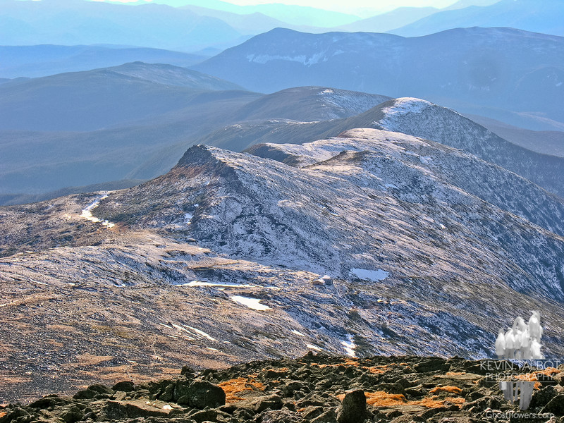 Light snow dusted the northwest side of the Southern Presidentials but didn't touch Mount Washington.