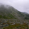 Clouds engulf the summit as we look north toward Nelson Crag.