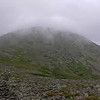 Fog rolls across the summit of Mount Washington.