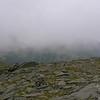 Clouds descend into Tuckerman Ravine.