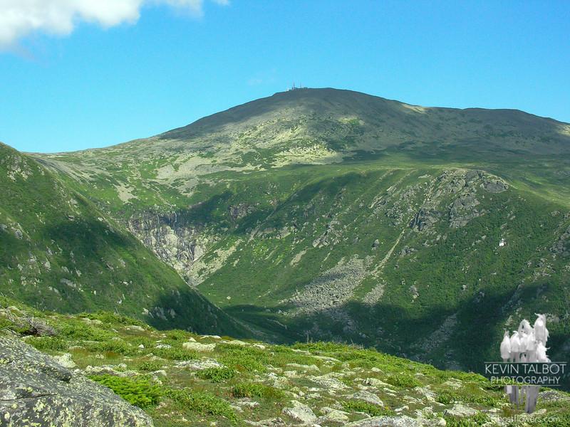 Across Tuckerman Ravine to the summit cone.