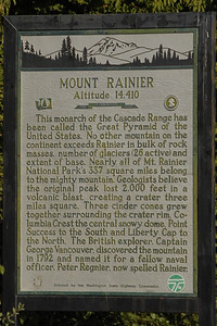 Historical marker on the way to Mt. Rainier