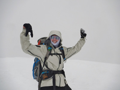Yep... this is my summit picture.  The faint line behind me is the edge of the cornice and it was extremely socked in ... so there was no way we were looking into the crater today.