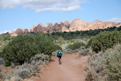 Rider Headed Toward Big Rocks on 24 Hours of Moab Course