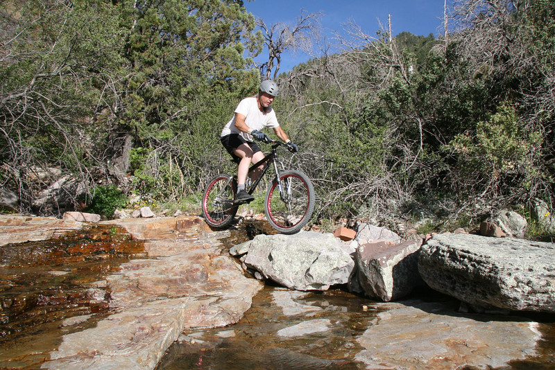Getting through the tire trap and on into the rock sequence.