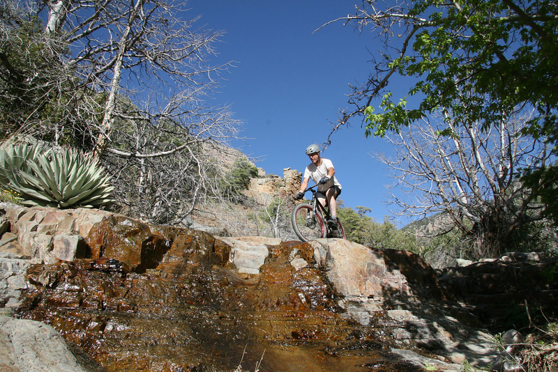 Crossing another falls.  Part 1<br /> It's the little pools of water that are like ice that make this a tad unnerving.