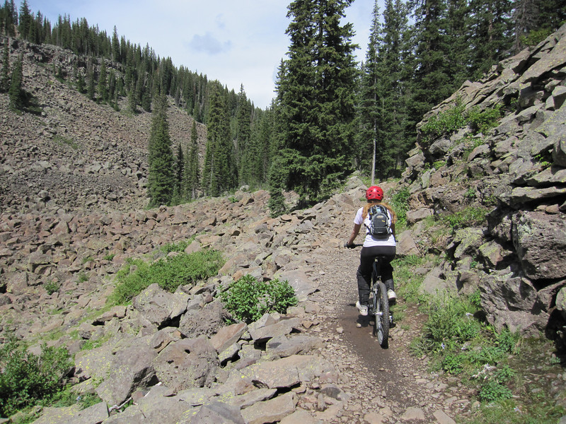 Exploration continues today from the west end of the trail loop.  We stage at 10,500 feet and almost manage to duck the unsettled weather.  The goal is to examine the ridge section.