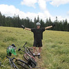 A photo just to prove I was actually here standing on Sourgrass Mountain.  Tristan easily smokes me on all the down hill sections.  He's a Junior in HS.  I remain a close second.  Not knowing the trail system I ride carefully.