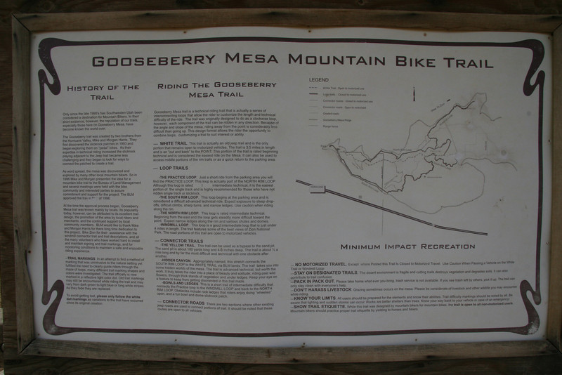 This trail head plaque is provided for rider information.  This is a high resolution photo with public access so you should be able to grab it, expand and read.